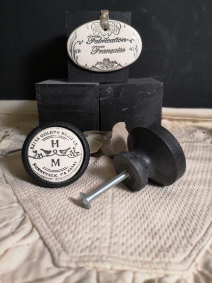 Bouton poignée meuble Duo Oiseaux couleur bois noir