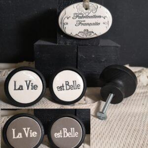 Bouton poignée meuble button handle tiroir porte artisanal original pub La Vie est Belle couleur bois noir