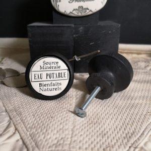 Bouton poignée meuble de tiroir ou porte artisanal original pour cuisine salle de bain chambre bureau ou autre en céramique Eau Potable bois noir