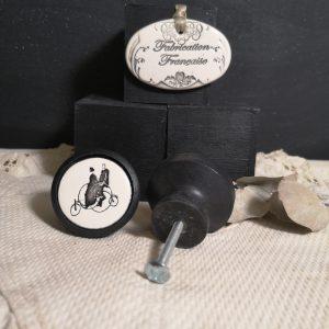 Bouton poignée meuble button handle tiroir porte artisanal original pub Tandem couleur bois noir