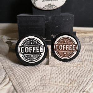 Bouton poignée meuble de tiroir ou porte artisanal original pour cuisine salle de bain chambre bureau ou autre COFFEE présentation en céramique bois noir