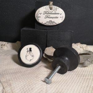 Bouton poignée meuble de tiroir ou porte artisanal original pour cuisine salle de bain chambre bureau ou autre Vintage AMPOULE en céramique bois noir
