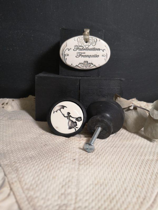 Bouton poignée meuble de tiroir ou porte artisanal original pour cuisine salle de bain chambre bureau ou autre Vintage Marie Poppins en céramique bois noir