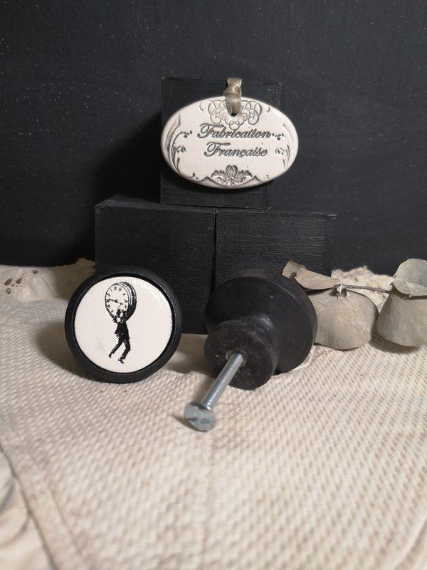 Bouton poignée meuble de tiroir ou porte artisanal original pour cuisine salle de bain chambre bureau ou autre Vintage Scène de Cinéma en céramique bois noir