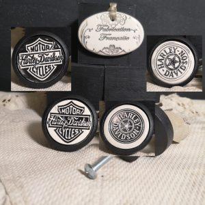 Bouton poignée meuble button handle tiroir porte artisanal original pub Harley Davidson couleur bois noir