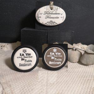 Bouton poignée meuble button handle tiroir porte artisanal original pub La Vie est faite de Petits Bonheurs couleur bois noir