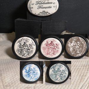 Bouton poignée meuble button handle tiroir porte artisanal original Toille de Jouy couleur bois noir
