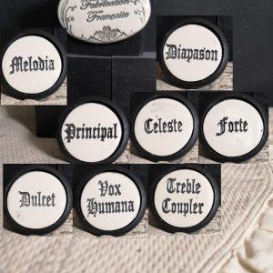 Bouton poignée meuble de tiroir ou porte artisanal original pour cuisine salle de bain chambre bureau ou autre Vintage Tirette orgue présentation en céramique bois noir