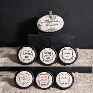 Bouton poignée meuble de tiroir ou porte artisanal original pour cuisine salle de bain chambre bureau ou autre Vintage Vin RHONE en céramique présentation bois noir