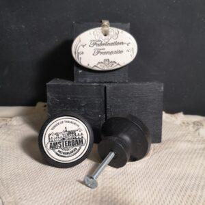 Bouton poignée meuble button handle tiroir porte artisanal original AMSTERDAM couleur bois noir
