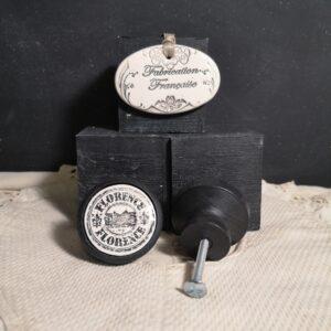 Bouton poignée meuble button handle tiroir porte artisanal original FLORENCE couleur bois noir