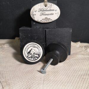 Bouton poignée meuble button handle tiroir porte artisanal original LE CAIRE couleur bois noir