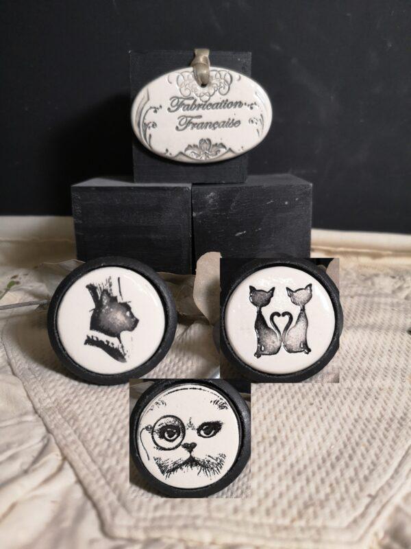 Bouton-poignee-meuble-button-handle-tiroir-porte-artisanal-original-pub-chambre-animal-chat-couleur-bois-noir