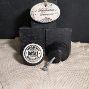 Bouton poignee meuble button handle tiroir porte artisanal original SINGAPOUR couleur bois noir