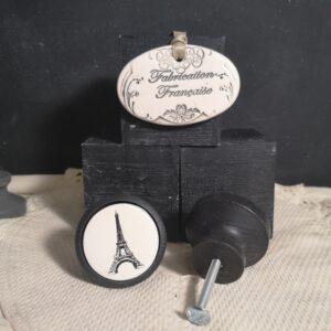 Bouton poignee meuble button handle tiroir porte artisanal original TOUR EIFFEL couleur bois noir