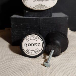 Boutons poignée meubles de tiroir ou portes artisanal original pour cuisine salle de bain chambre bureau ou autre Vintage Aveyron Vivre Vrai en céramique RODEZ bois noir