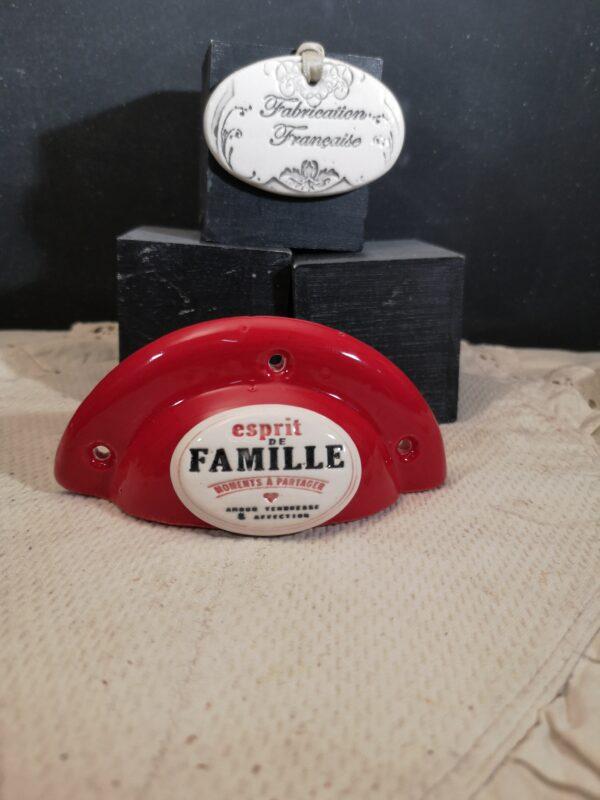 Poignée coquille meuble de tiroir ou porte artisanal original pour cuisine salle de bain chambre bureau ou autre Esprit de famille en céramique poignée rouge ovale bicouleur
